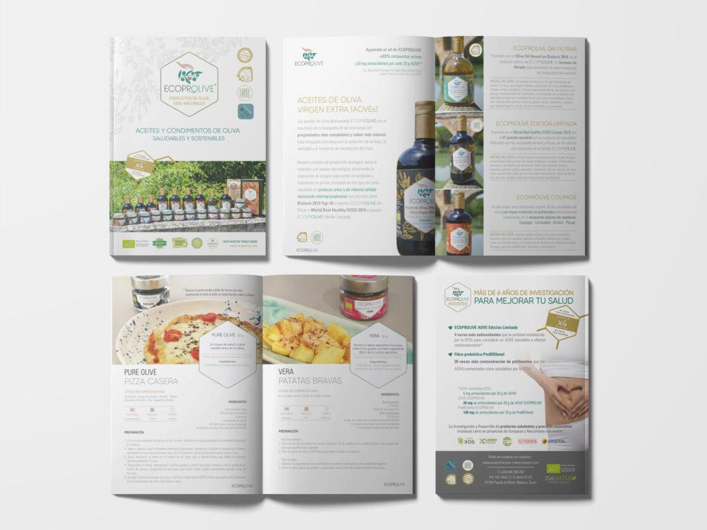 Maquetación de catálogo para la almazara ecológica Ecoprolive