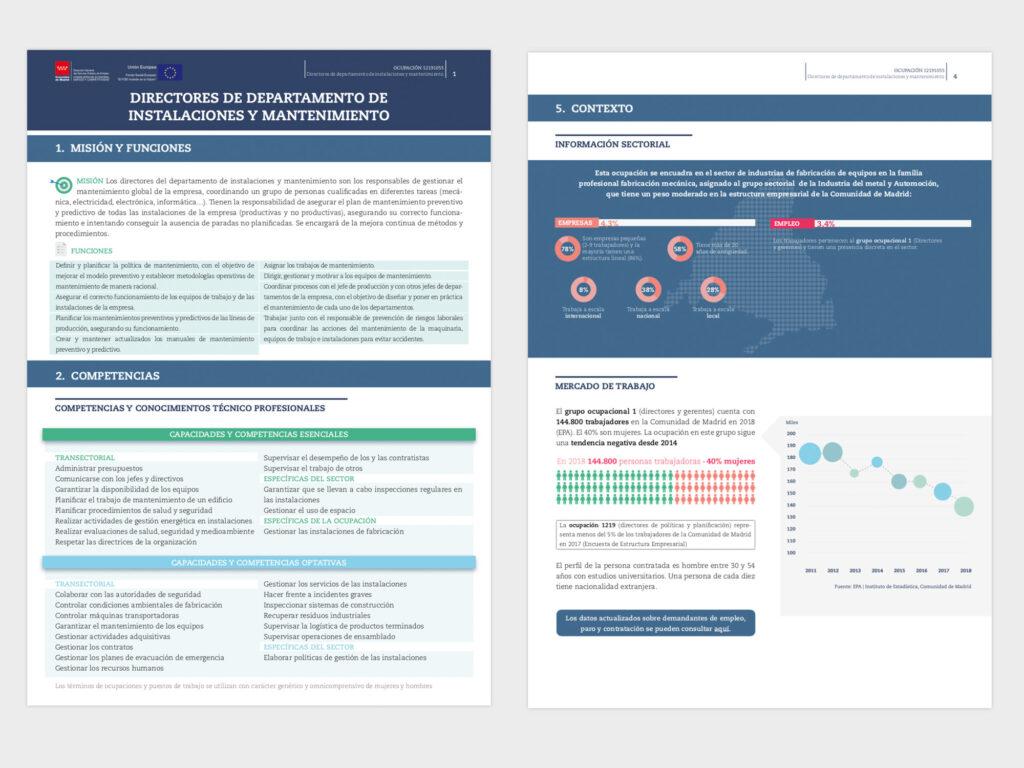 Diseño y maquetación de fichas de empleo para la Consejería de Economía, Empleo y Competitividad, Comunidad de Madrid